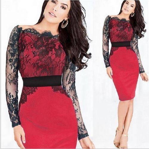 Women Celeb Black Lace Bodycon Cocktail Evening Party Prom Midi Dress Red/Blue